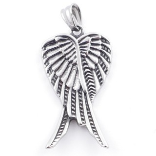 49292-08 WING SHAPED 46 X 26 MM STAINLESS STEEL PENDANT