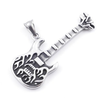 49292-20 GUITAR SHAPED 60 X 30 MM STAINLESS STEEL PENDANT