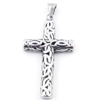 49292-21 CROSS SHAPED 57 X 33 MM STAINLESS STEEL PENDANT