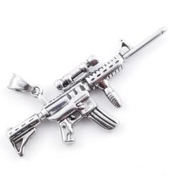 49292-27 MACHINE GUN SHAPED 30 X 70 MM STAINLESS STEEL PENDANT