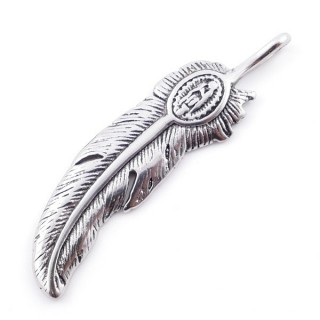 49292-28 FEATHER SHAPED 62 X 16 MM STAINLESS STEEL PENDANT