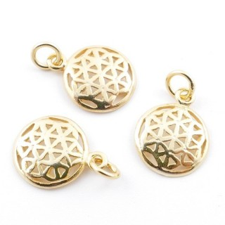 5544600 PACK OF 3 GOLD PLATED SILVER CHARMS 11 MM FLOWER OF LIFE