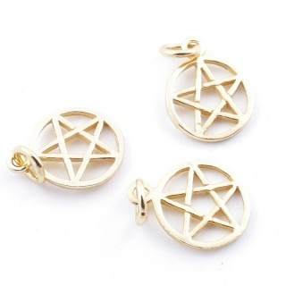 5544700 PACK OF 3 GOLD PLATED SILVER CHARMS 10 MM PENTAGRAM