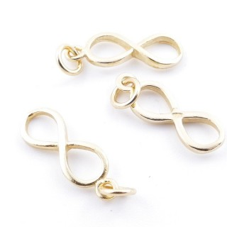 5544800 PACK OF 3 GOLD PLATED SILVER CHARMS 17 X 6 MM INFINTY