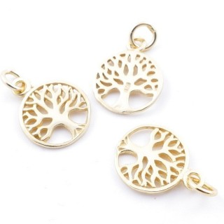 5544900 PACK OF 3 GOLD PLATED SILVER CHARMS 11 MM TREE OF LIFE