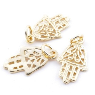 5545000 PACK OF 3 GOLD PLATED SILVER CHARMS 17 X 9 MM HAMSA