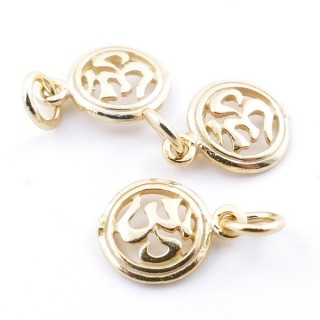 5545100 PACK OF 3 GOLD PLATED SILVER CHARMS 8 MM OM