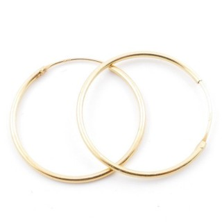 5217400 STERLING SILVER 25 MM X 1,2 MM HOOP EARRINGS WITH GOLDEN PLATING