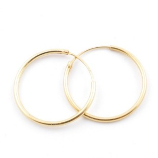 5217300 STERLING SILVER 20 MM X 1,2 MM HOOP EARRINGS WITH GOLDEN PLATING