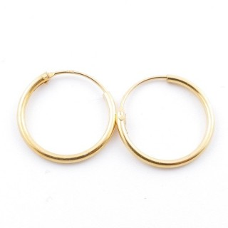 5217000 STERLING SILVER 14 MM X 1,2 MM HOOP EARRINGS WITH GOLDEN PLATING