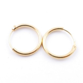 5216900 STERLING SILVER 12 MM X 1,2 MM HOOP EARRINGS WITH GOLDEN PLATING