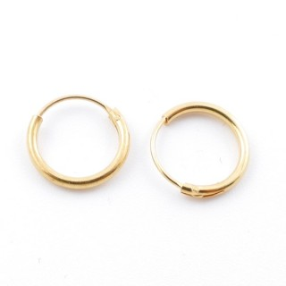 5216800 STERLING SILVER 10 MM X 1,2 MM HOOP EARRINGS WITH GOLDEN PLATING