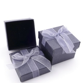 18820-01 PACK OF 24 GIFT BOXES FOR RINGS/EARRINGS 5 X 5 CM IN GREY