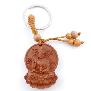 49311-02 WOODEN FENG SHUI KEYCHAIN WITH CHINESE SYMBOLS