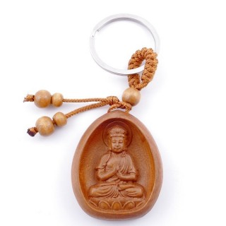 49311-04 WOODEN FENG SHUI KEYCHAIN WITH CHINESE SYMBOLS