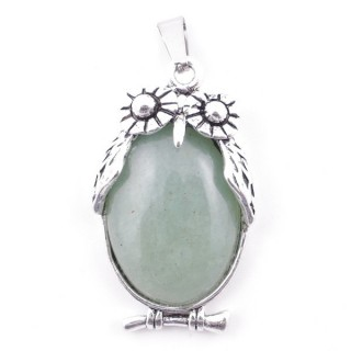 49210-12 FASHION JEWELRY 38 X 22 MM METAL OWL PENDANT WITH GREEN AVENTURINE