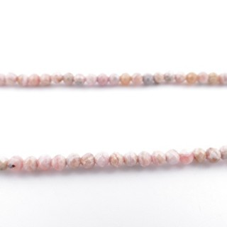41364 40 CM STRING OF 4 MM FACETED BEADS IN RHODOCROSITE