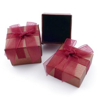 18819-08 PACK OF 24 GIFT BOXES FOR RINGS 4 X 4 CM IN BROWN