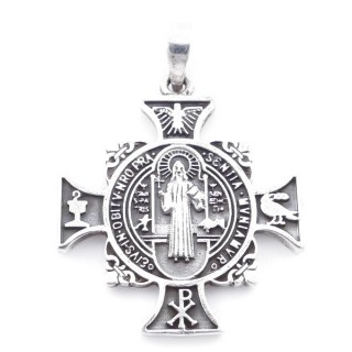55484 STERLING SILVER CROSS WITH SAINT BENEDIECT 34 X 30 MM PENDANT