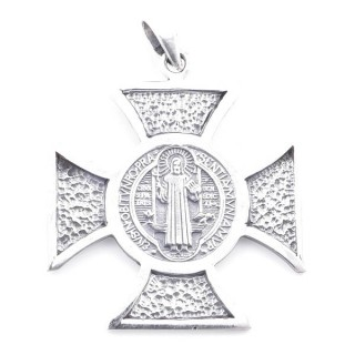 55485 STERLING SILVER CROSS WITH SAINT BENEDIECT 37 X 33 MM PENDANT