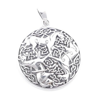5023200 STERLING SILVER 32 MM PENDANT WITH HORSES