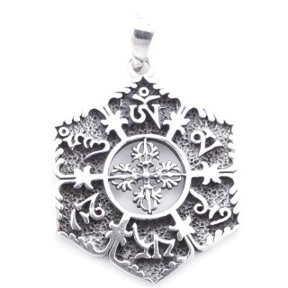 5023400 STERLING SILVER PENDANT WITH VAJRA SYMBOL 33 X 26 MM