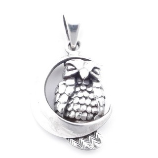 5023500 STERLING SILVER MOON WITH OWL SHAPED 28 X 18 MM PENDANT