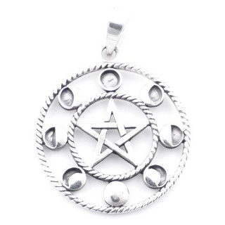 5024900 STERLING SILVER 28 MM PENTAGRAM PENDANT WITH LUNAR PHASES