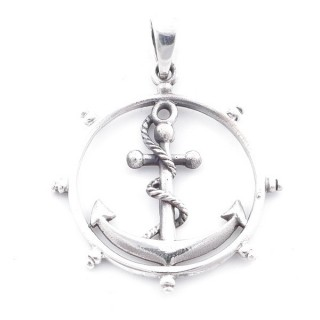 5026300 STERLING SILVER SHIP'S WHEEL & ANCHOR 32 MM PENDANT