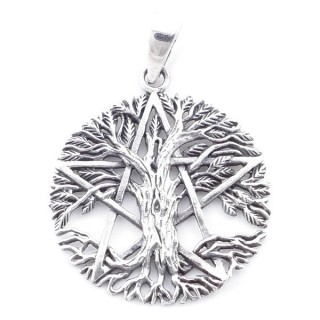 5026400 STERLING SILVER TREE OF LIFE AND PENTAGRAM 27 MM PENDANT