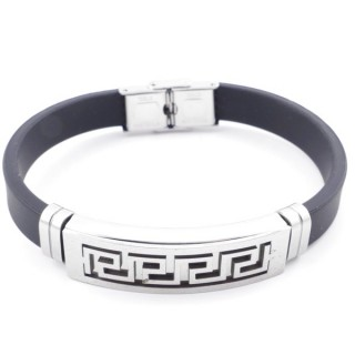 37401-05 ADJUSTABLE RUBBER AND STAINLESS STEEL BRACELET