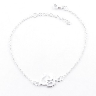55473 STERLNG SILVER BRACELET WITH 18 X 10 MM OM CHARM