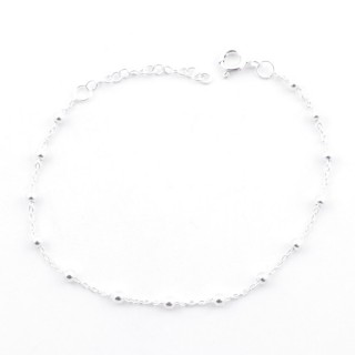 55474 STERLNG SILVER BRACELET WITH 3 MM BEADS: 17.5 CM