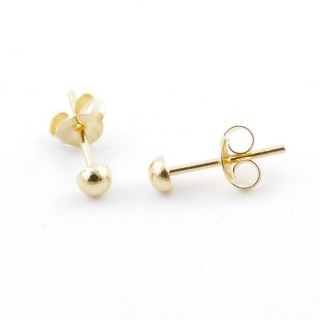 55491 GOLD PLATED SILVER 925 3 MM HALF BALL EARRINGS