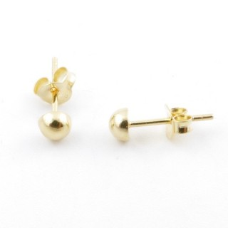 55490 GOLD PLATED SILVER 925 4 MM HALF BALL EARRINGS