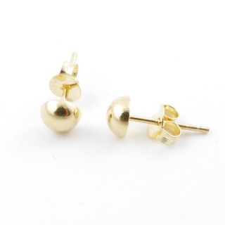 55489 GOLD PLATED SILVER 925 5 MM HALF BALL EARRINGS