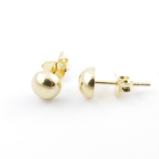 55488 GOLD PLATED SILVER 925 6 MM HALF BALL EARRINGS