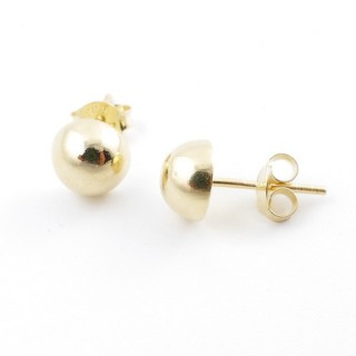 55487 GOLD PLATED SILVER 925 7 MM HALF BALL EARRINGS