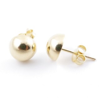 55486 GOLD PLATED SILVER 925 8 MM HALF BALL EARRINGS
