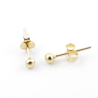 55497 GOLD PLATED SILVER 925 3 MM BALL EARRINGS