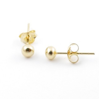 55496 GOLD PLATED SILVER 925 4 MM BALL EARRINGS