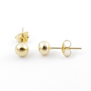 55495 GOLD PLATED SILVER 925 5 MM BALL EARRINGS