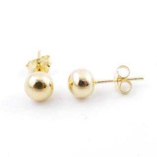 55494 GOLD PLATED SILVER 925 6 MM BALL EARRINGS