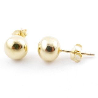 55492 GOLD PLATED SILVER 925 8 MM BALL EARRINGS
