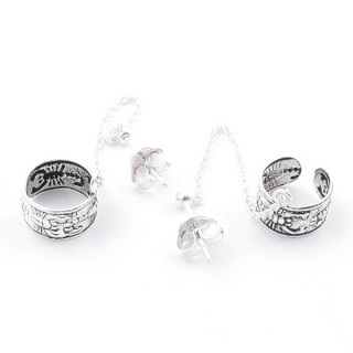 55501 STERLING SILVER CUFF EARRINGS WITH 40 MM CHAIN