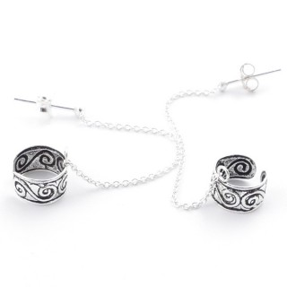 34013 STERLING SILVER CUFF EARRINGS WITH 40 MM CHAIN