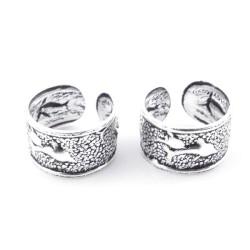 55453 STERLING SILVER BALI DESIGN 9 X 5 MM CUFF DESIGN EARRINGS