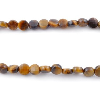 40033 40 CM STRING OF FACETED TIGER'S EYE BUTTON SHAPED 6 MM BEAD
