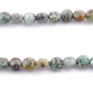 42965 40 CM STRING OF FACETED NATURAL TURQUOISE BUTTON SHAPED 6 MM BEAD