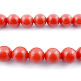 43736 40 CM STRING OF 16 MM BEADS OF SYNTHETIC CORAL